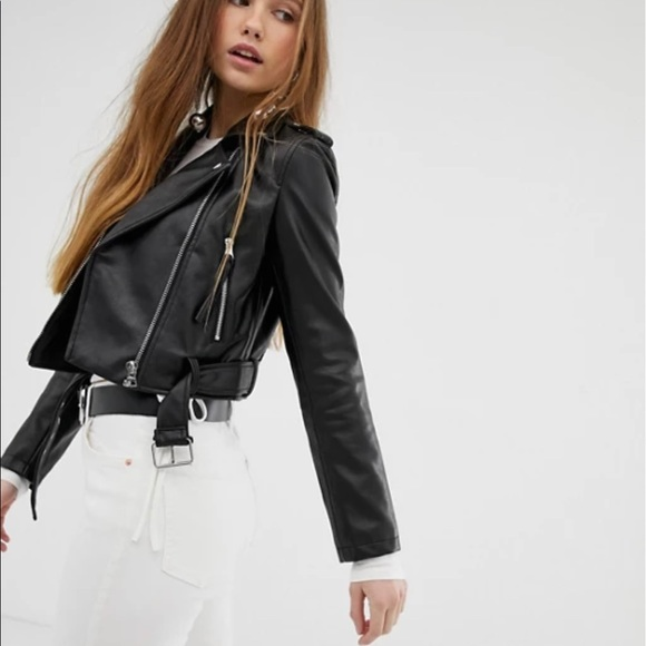 ASOS Bershka Cropped Faux Leather Biker Jacket